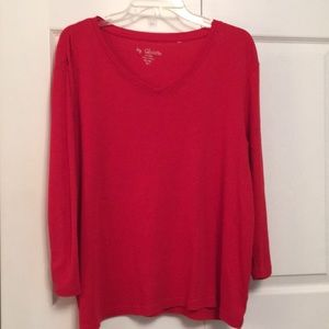 Chico's Cotton Red V Neck T-Shirt